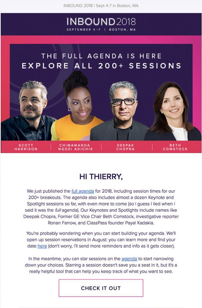 email agenda inbound 2018